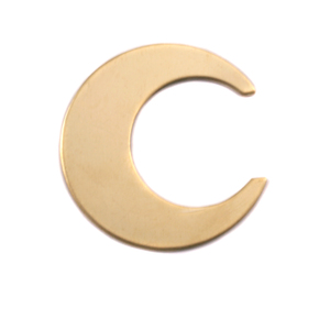"Metal Stamping Blanks Brass Crescent Moon, 25.4mm (1""), 24g, Pk of 5"