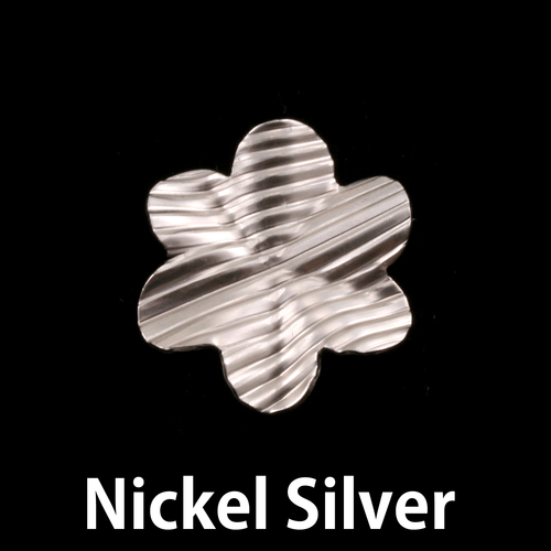 Metal Stamping Blanks Nickel 6 Petal Striped Folded Flower, 24g