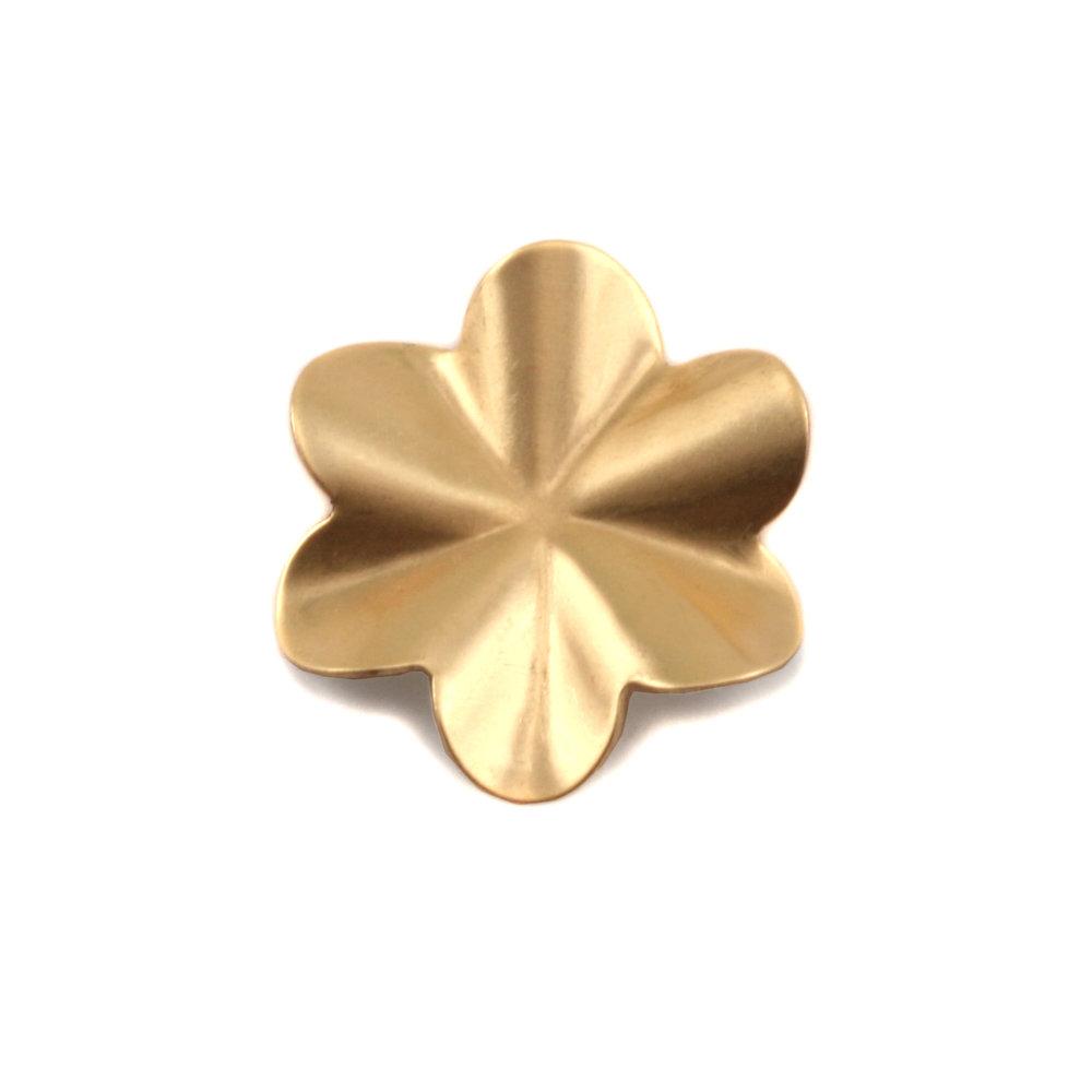 Metal Stamping Blanks Brass 6 Petal Folded Flower, 24g
