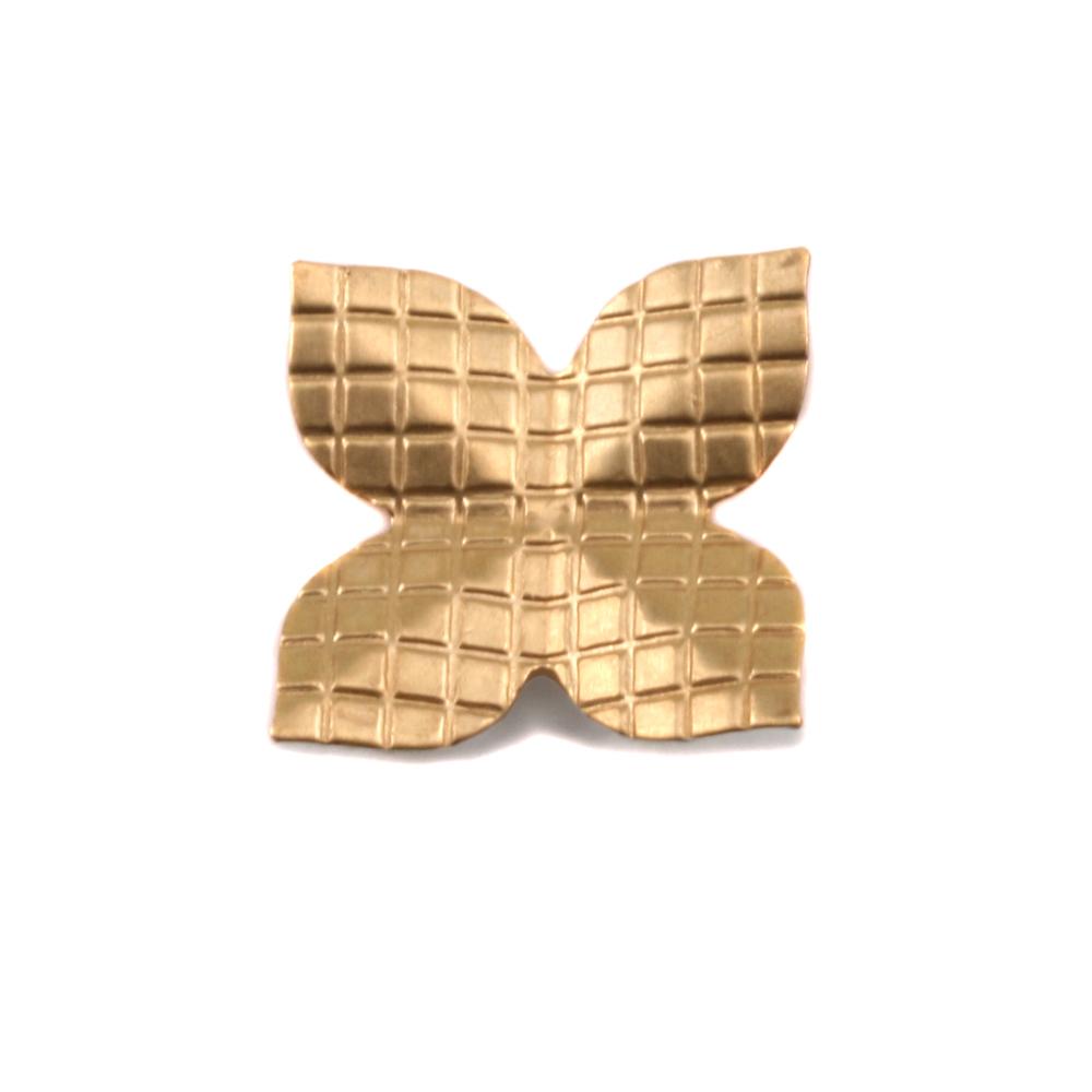 Metal Stamping Blanks Brass 4 Petal Checkered Folded Flower, 24g