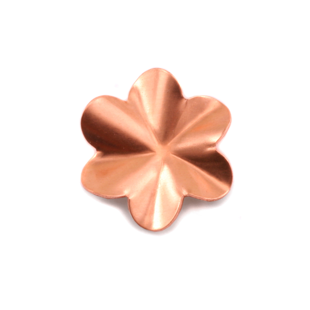 Metal Stamping Blanks Copper 6 Petal Folded Flower, 24g