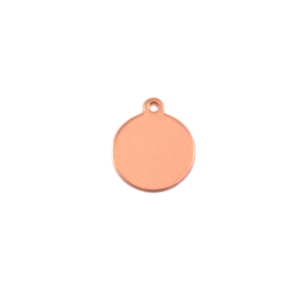"Metal Stamping Blanks Copper Round, Disc, Circle with Top Loop, 9.5mm (.37""), 24g"