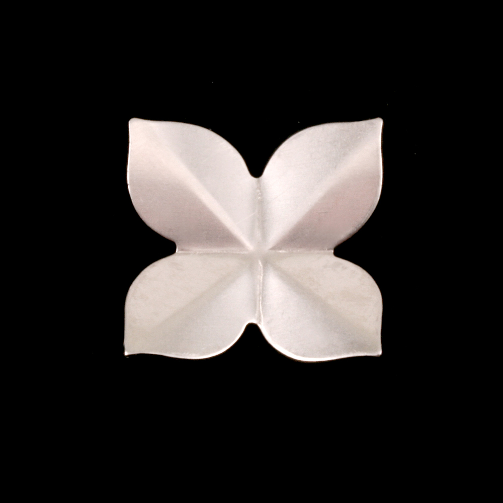 Metal Stamping Blanks Sterling Silver 4 Petal Folded Flower, 24g