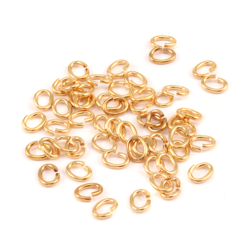Chain & Jump Rings Gold Tone 2.5mm x 4.5mI.D. 18 Gauge Oval Jump Rings, 5gm pack