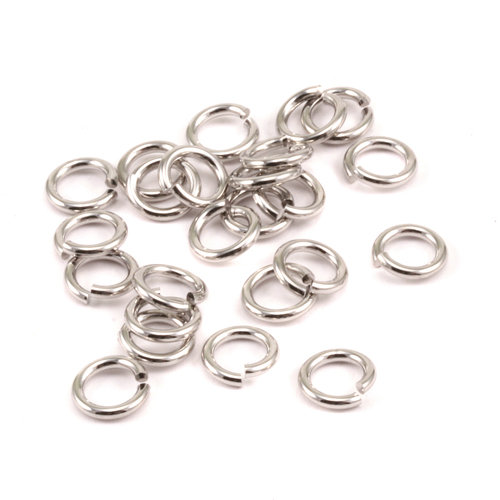 Chain & Jump Rings Rhodium Finish 5mm I.D. 16 Gauge Jump Rings, 5gm pack