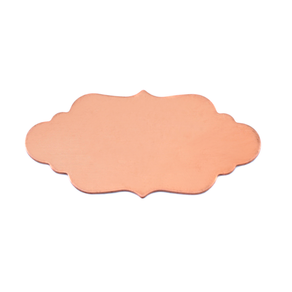 "Metal Stamping Blanks Copper Elegant Plaque, 40.2mm (1.58"") x 19.8mm (.78""), 24g, Pack of 5"