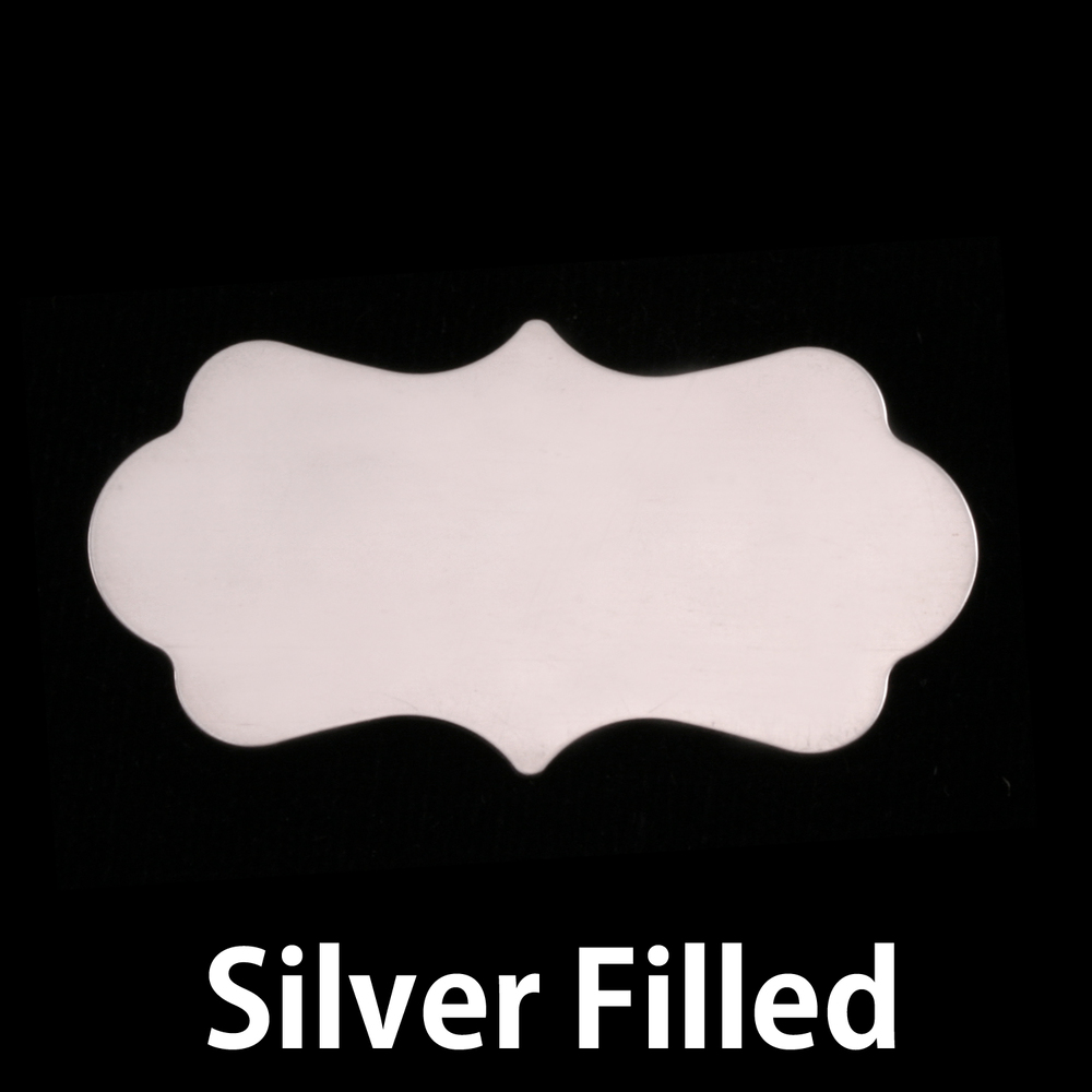 "Metal Stamping Blanks Silver Filled Mod Plaque, 40.3mm (1.59"") x 22.1mm (.87""), 24g"