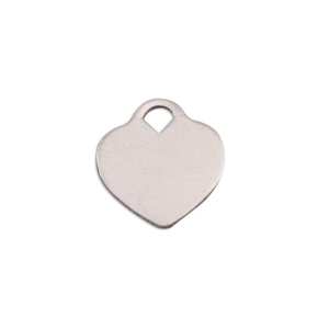 "Metal Stamping Blanks Aluminum ""Tiffany"" Style Heart, 13mm (.51"") x 12mm (.47""), 18g, Pack of 5"