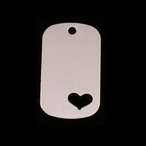 "Metal Stamping Blanks Sterling Silver Medium Dog Tag with Heart, 29mm (1.14"") x 16mm (.63""), 24g"