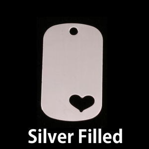 "Metal Stamping Blanks Silver Filled Medium Dog Tag with Heart, 29mm (1.14"") x 16mm (.63""), 24g"