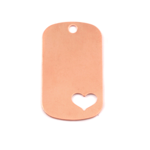 "Metal Stamping Blanks Copper Medium Dog Tag with Heart, 29mm (1.14"") x 16mm (.63""), 24g"
