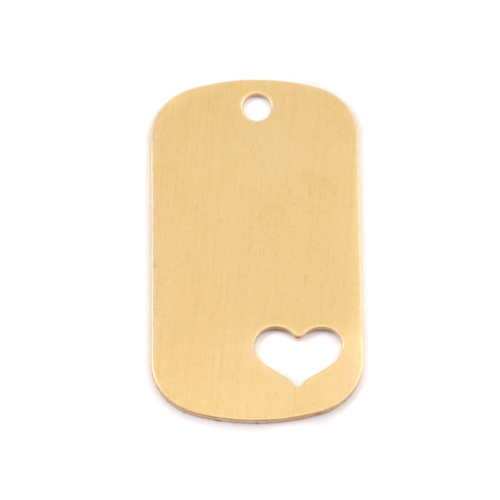 Metal Stamping Blanks Brass Medium Dog Tag with Heart cut out, 24g