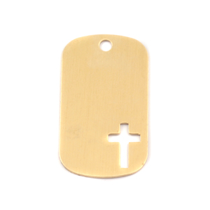 Metal Stamping Blanks Brass Medium Dog Tag with Cross, 24g