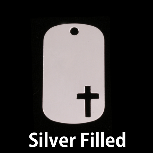 Metal Stamping Blanks Silver Filled Medium Dog Tag with Cross, 24g