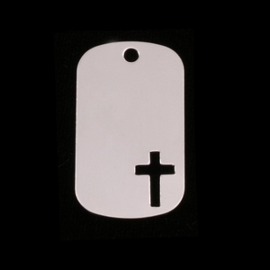 Metal Stamping Blanks Sterling Silver Medium Dog Tag with Cross, 24g