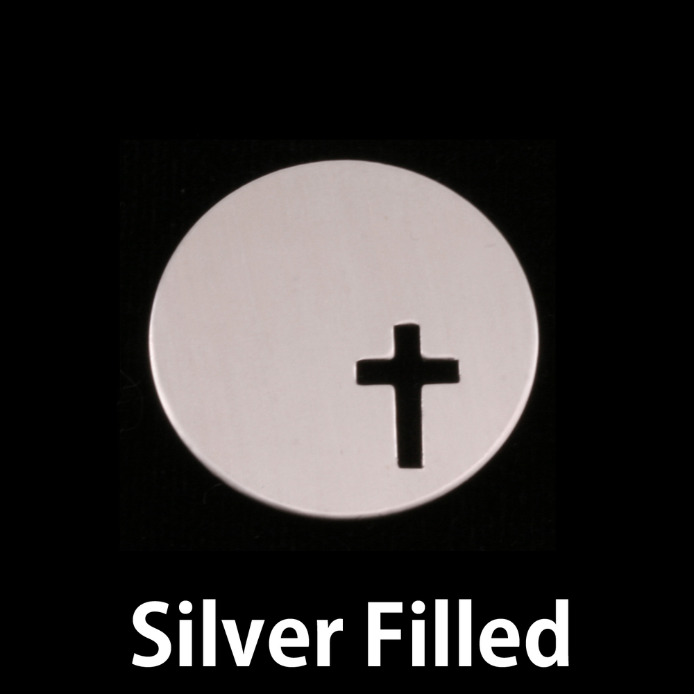 "Metal Stamping Blanks Silver Filled Circle with Cross, 22mm (.87""), 24g"