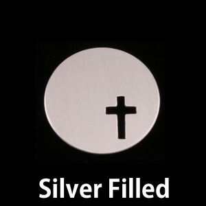 "Metal Stamping Blanks Silver Filled  Circle 7/8"" (22mm) with Cross, 24g"