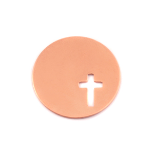 "Metal Stamping Blanks Copper Circle, 7/8"" (22mm) with Cross, 24g"
