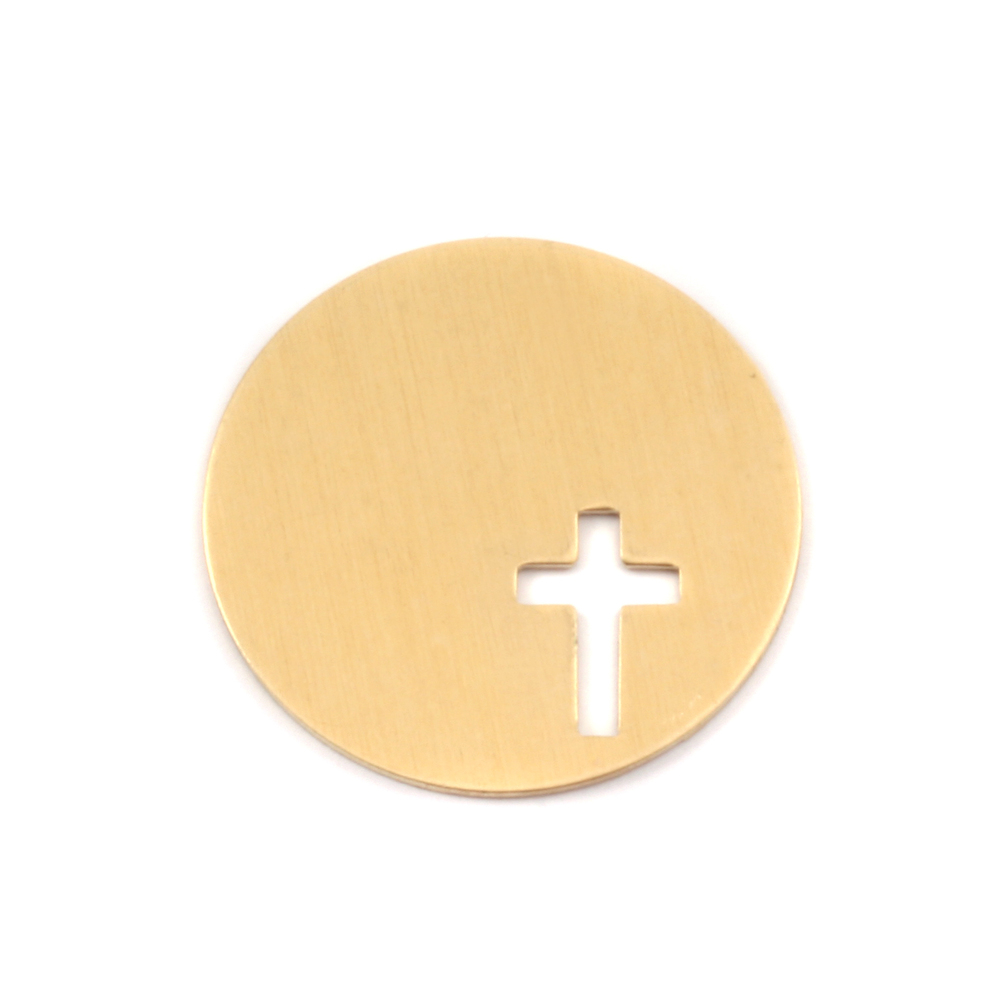 "Metal Stamping Blanks Brass Circle with Cross, 22.5mm (.89""), 24g"