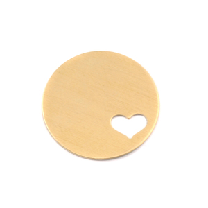 "Metal Stamping Blanks Brass Circle with Heart, 22.5mm (.89""), 24g"
