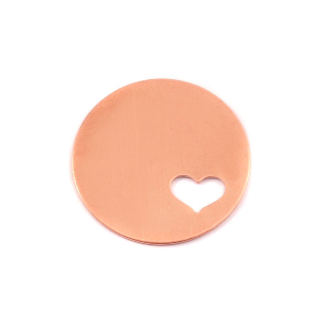"Metal Stamping Blanks Copper Circle with Heart, 22mm (.87""), 24g"