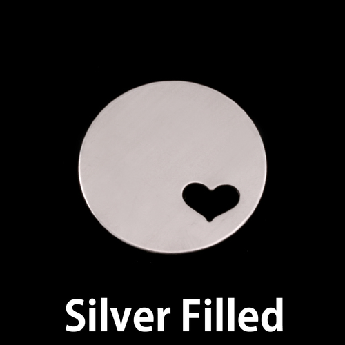 "Metal Stamping Blanks Silver Filled  Circle 7/8"" (22mm) with Heart, 24g"