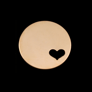 "Metal Stamping Blanks Gold Filled Circle with Heart, 22mm (.87""), 24g"