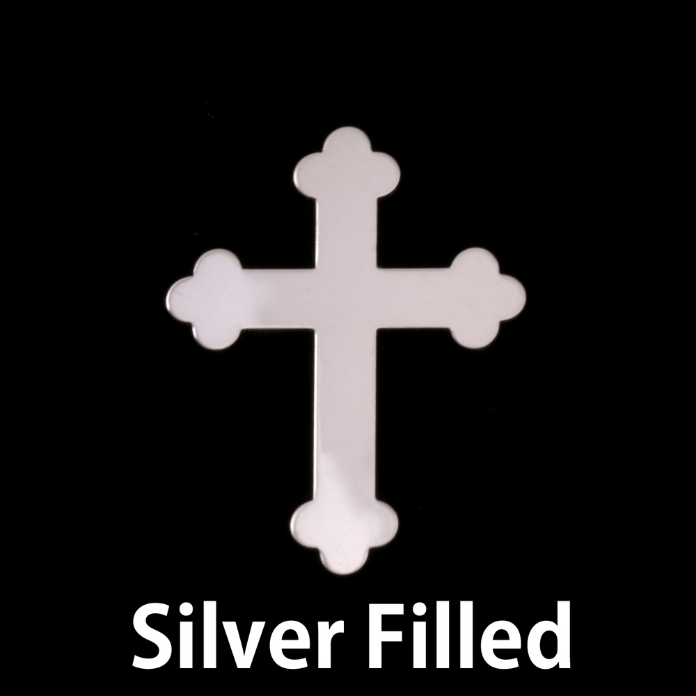 Metal Stamping Blanks Silver Filled Fancy Cross, 24g