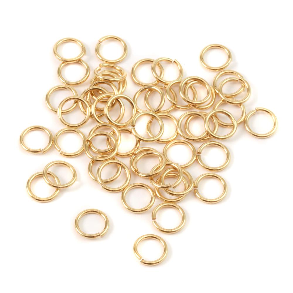 Jump Rings Brass 5.5mm I.D. 18 Gauge Jump Rings, Pack of 50