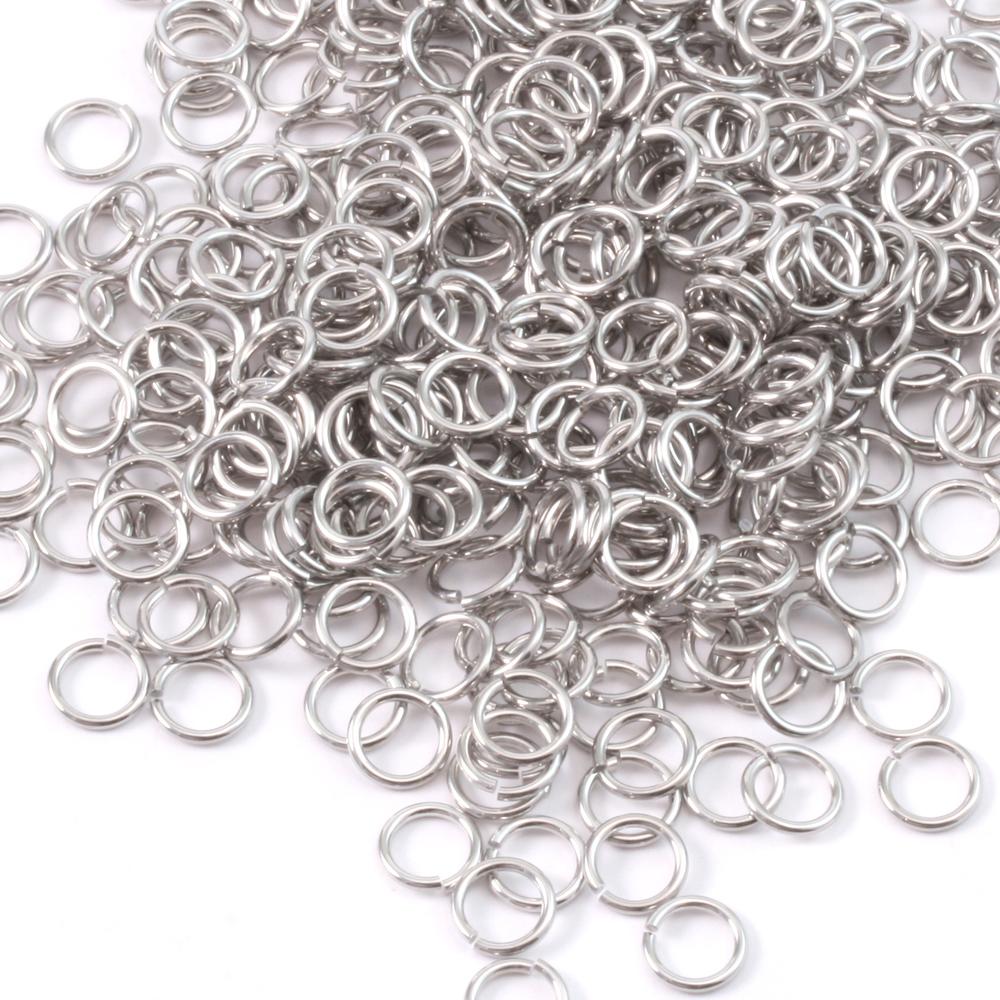 Jump Rings Aluminum 5mm I.D. 18 Gauge Jump Rings, 1/2 ounce pack