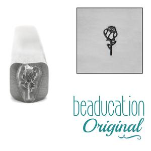 Metal Stamping Tools Rose Bud Flower Metal Design Stamp, 5.5mm - Beaducation Original