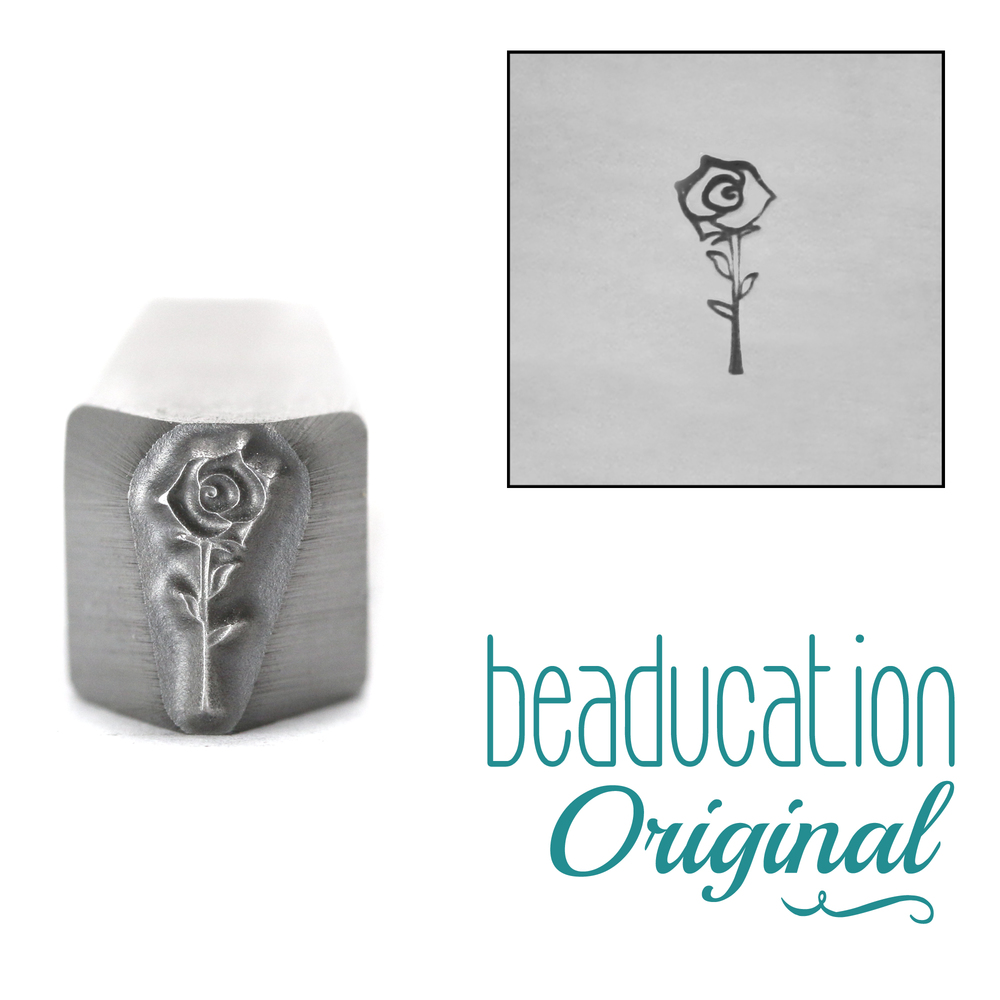 Metal Stamping Tools Open Rose Flower Metal Design Stamp, 8.5mm - Beaducation Original