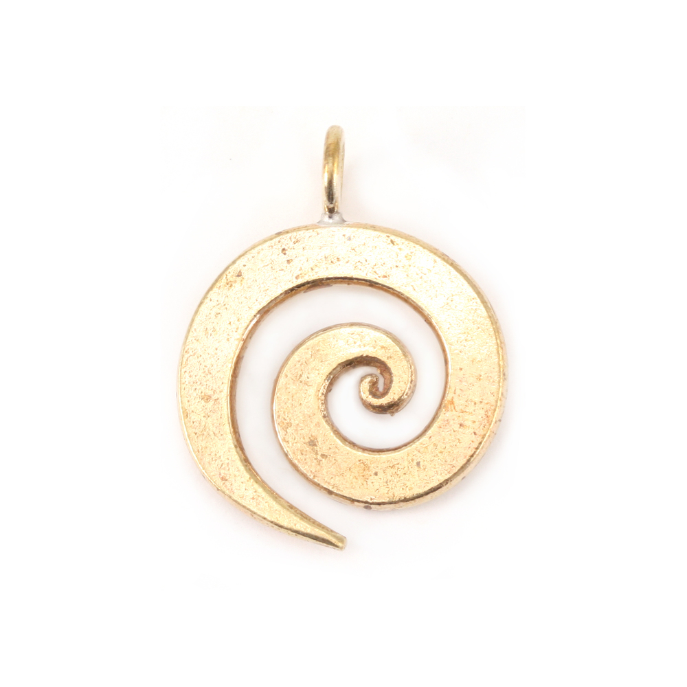 """Metal Stamping Blanks Bronze Medium Spiral Pendant 3/4"""" (19mm)"""