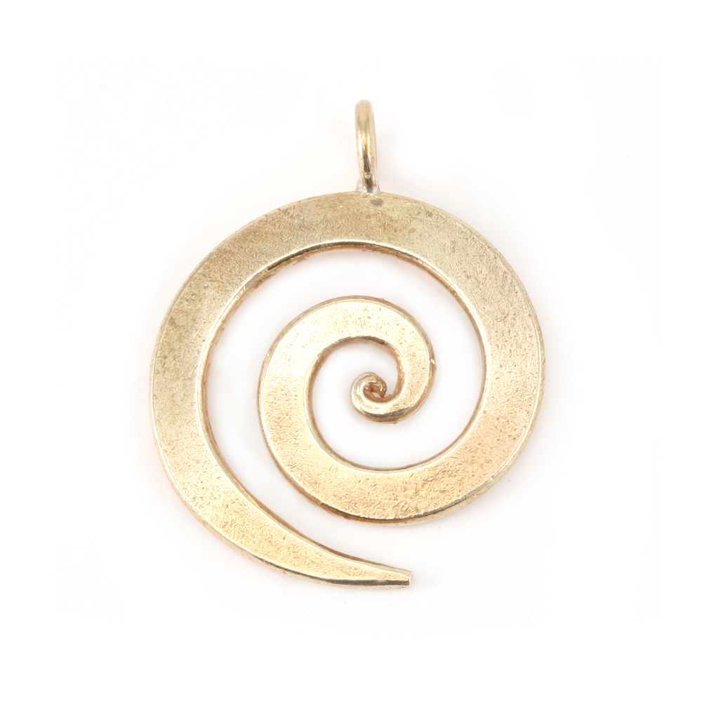 "Metal Stamping Blanks Bronze Large Spiral Pendant 1 1/8"" (28.5mm)"
