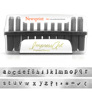 "Metal Stamping Tools ImpressArt Newsprint Lowercase Set for Stainless Steel 1/8"" (3mm)"