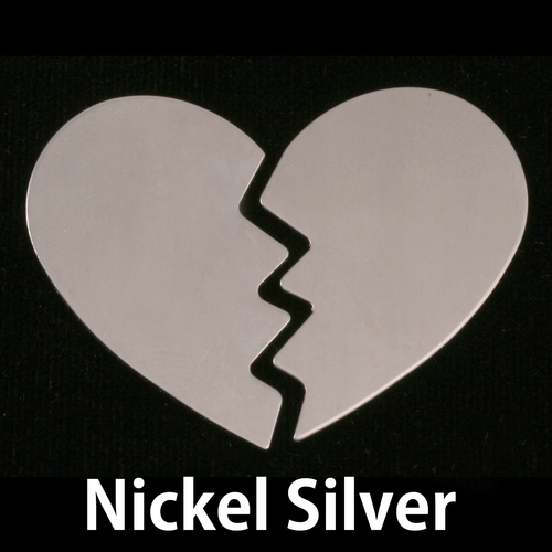 Metal Stamping Blanks Nickel Silver Large Broken Heart, 2 pieces 24g