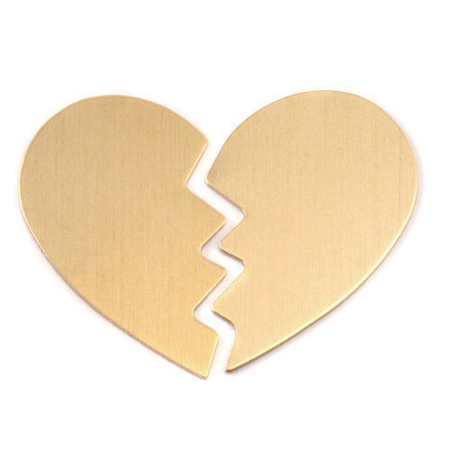 Metal Stamping Blanks Brass Large Broken Heart, 2 pieces, 24g