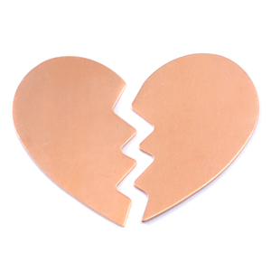 Metal Stamping Blanks Copper Large Broken Heart, 2 pieces, 24g