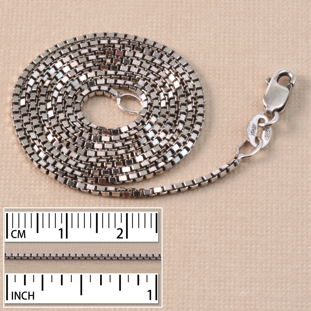 Chain & Clasps Sterling Silver Small Box Chain, Oxidized, 18""