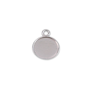"Metal Stamping Blanks Sterling Silver Round, Disc, Circle with Raised Edge, 10.5mm (.41""), 22g"