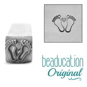Metal Stamping Tools Baby Feet with Heart Metal Design Stamp- Beaducation Original