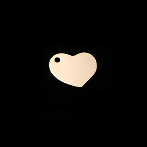 "Metal Stamping Blanks Gold Filled Heart Tag with Hole, 10mm (.40"") x 9mm (.35""), 22g"