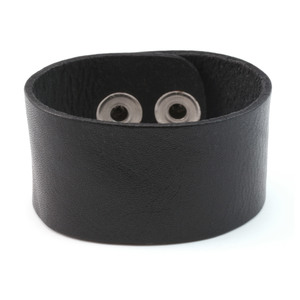 "Leather Stampable Leather Cuff Bracelet 1 1/4"" Black"