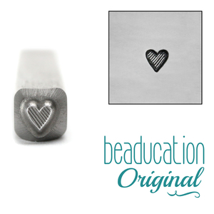 Metal Stamping Tools Tall Lined Heart Metal Design Stamp 3.5mm- Beaducation Original