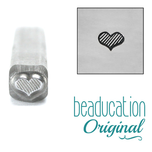 Metal Stamping Tools Fat Lined Heart Metal Design Stamp 4.5mm- Beaducation Original