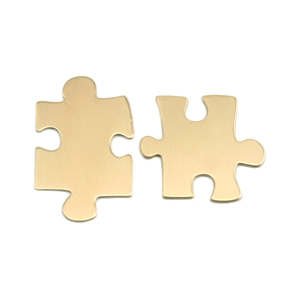 Metal Stamping Blanks Brass Paired Puzzle Pieces, 24g