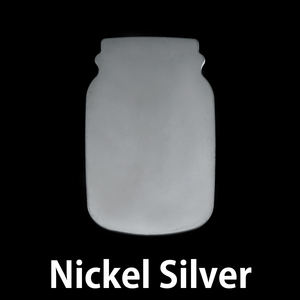 "Metal Stamping Blanks Nickel Silver Mason Jar, 27mm (1.06"") x 17mm (.67""), 24g"