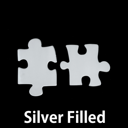 Metal Stamping Blanks Silver Filled Paired Puzzle Pieces, 24g