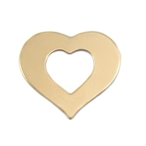 "Metal Stamping Blanks Brass Heart Washer, 24mm (.94"") x 21mm (.83""), 24g"