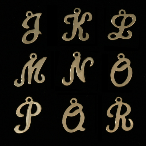 Charms & Solderable Accents Gold Filled Script Letter Charm J, 24g